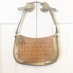 Fossil woven rattan leather studded handbag EUC